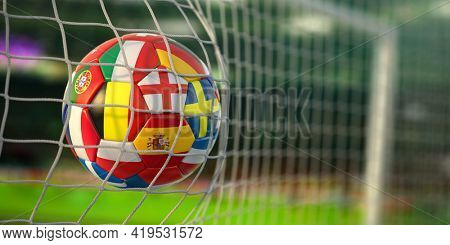 Football ball with flags of european countries in the net of goal of football stadium. Euro championship 2021. 3d illustration