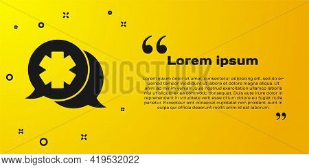 Black Dialogue With The Doctor Icon Isolated On Yellow Background. Doctor And Patient Dialog. Consul