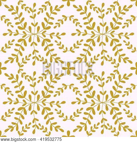 Tile Portugal Flower Seamless Pattern. Gold Color Floral Geometric Background. Traditional Azulejo R