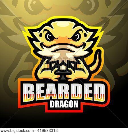 Vector Illustration Of Bearded Dragon Esport Logo Mascot