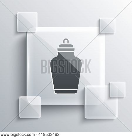 Grey Funeral Urn Icon Isolated On Grey Background. Cremation And Burial Containers, Columbarium Vase