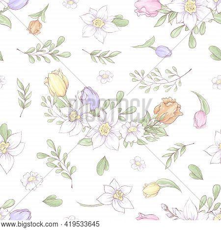 Seamless Pattern Of Spring Beautiful Flowers Daffodils And Tulips