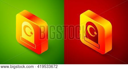 Isometric Muslim Cemetery Icon Isolated On Green And Red Background. Islamic Gravestone. Square Butt