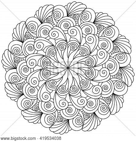 Contour Mandala With Swirls, Spirals And Shells, Outline Coloring Page In The Shape Of A Circle With