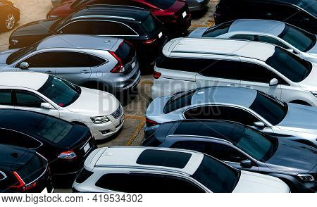 Car Parked At Parking Lot Of The Airport For Rental. Aerial View Of Car Parking Lot Of The Airport.