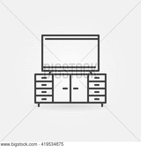 Tv On Cupboard Linear Icon. Tv Table Vector Symbol