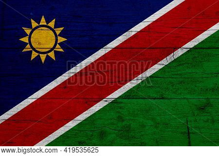 Flag Of Namibia. Wooden Texture Of The Flag Of Namibia.