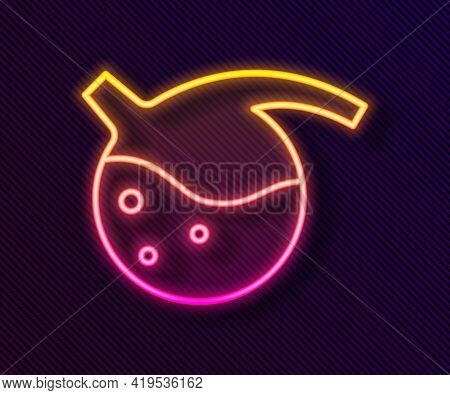 Glowing Neon Line Test Tube And Flask Chemical Laboratory Test Icon Isolated On Black Background. La