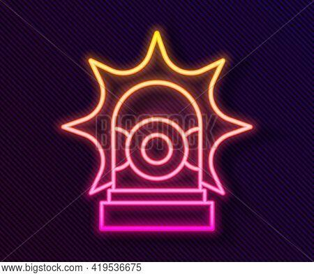 Glowing Neon Line Flasher Siren Icon Isolated On Black Background. Emergency Flashing Siren. Vector