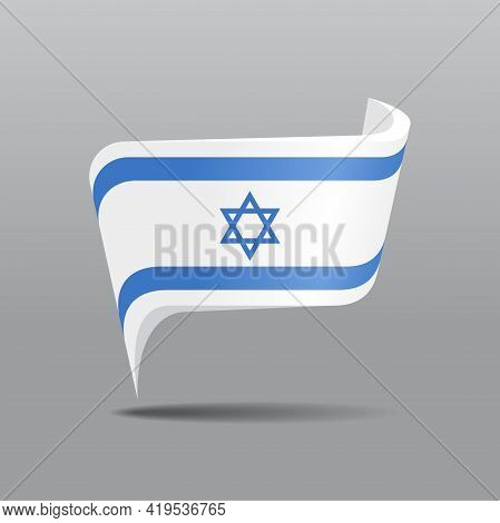 Israeli Flag Map Pointer Layout. Vector Illustration.