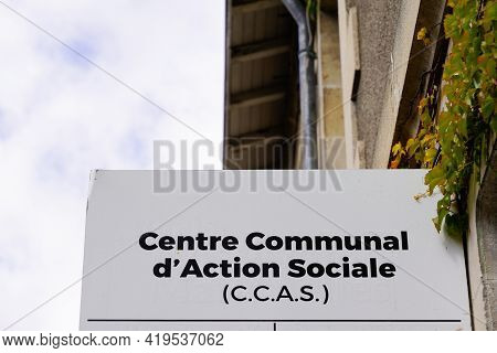 Ccas Logo And Text Sign On Wall Centre Communal D'action Sociale Means Communal Centre For Social Ac