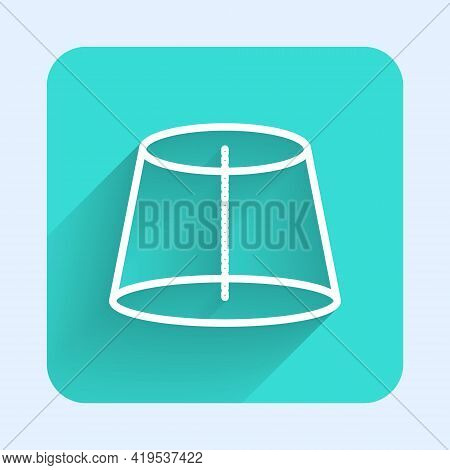 White Line Geometric Figure Icon Isolated With Long Shadow. Abstract Shape. Geometric Ornament. Gree