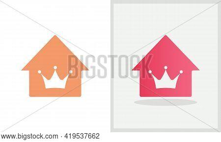 Crown House Logo Design. Home Logo With Crown Concept Vector. Crown And Home Logo Design