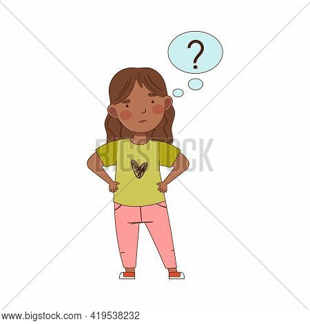 Confused Girl Pondering Question Thinking And Wondering Vector Illustration
