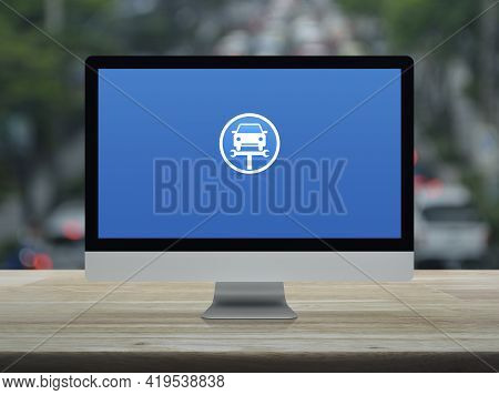 Service Fix Car With Wrench Tool Flat Icon On Desktop Modern Computer Monitor Screen On Wooden Table