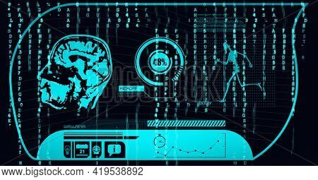 Animation of human brain, scope scanning and binary coding on black background. global technology and digital interface concept digitally generated image.