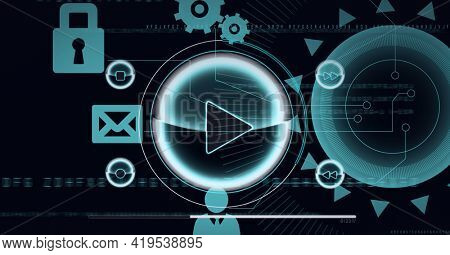 Animation of scopes scanning and icons on black background. global technology and digital interface concept digitally generated image.