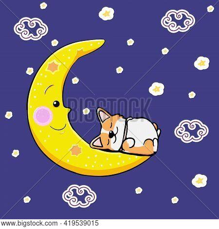Postcard Corgi Dog Sleeping On The Moon. Cute Orange Redhead Welsh Corgi Vector Cartoon Sticker Illu