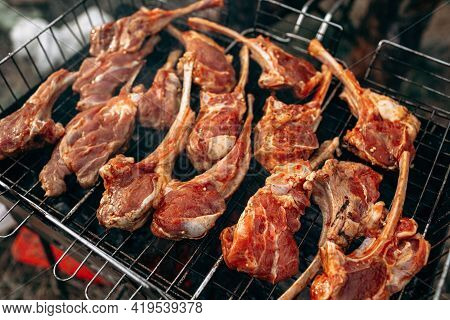 Grilling A Rack Of Lamb On Grill Barbecue