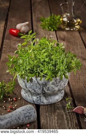 Fresh Small-leaved Basil In Mortar With Condiments On Wooden Table