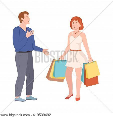 Conflicting Parents Arguing With Each Other Scolding And Shouting At Each Other Vector Illustration