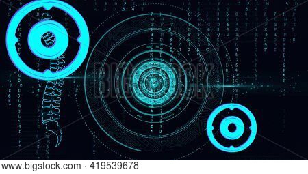 Animation of scopes scanning, human spine and binary coding on black background. global science, medicine, technology and digital interface concept digitally generated image.
