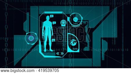 Animation of scopes scanning, human model and binary coding over screen on black background. global science, medicine, technology and digital interface concept digitally generated image.