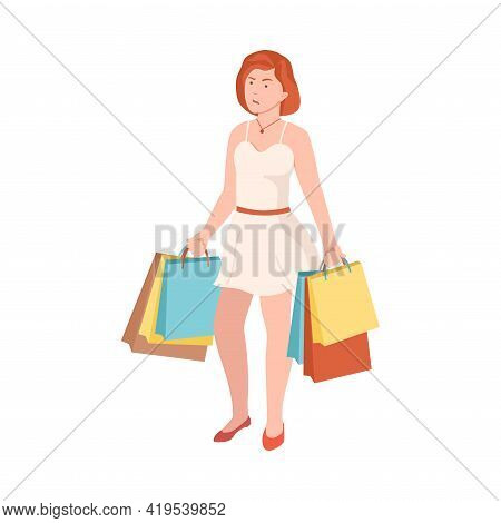 Frowning Woman With Shopping Bags Quarrelling And Arguing With Someone Shouting Vector Illustration