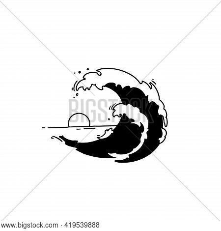 Ocean Wave, Linear Emblem, Cute Doodle Wave