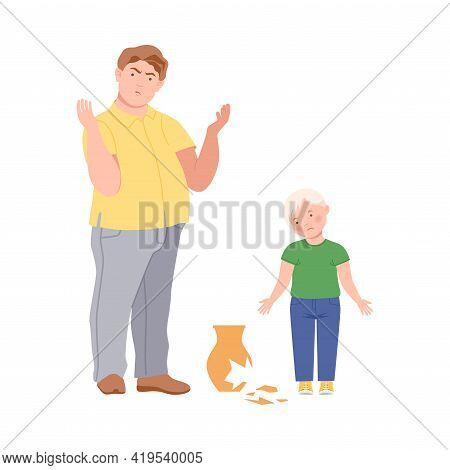 Annoyed Dad Scolding His Son For Broken Vase Vector Illustration