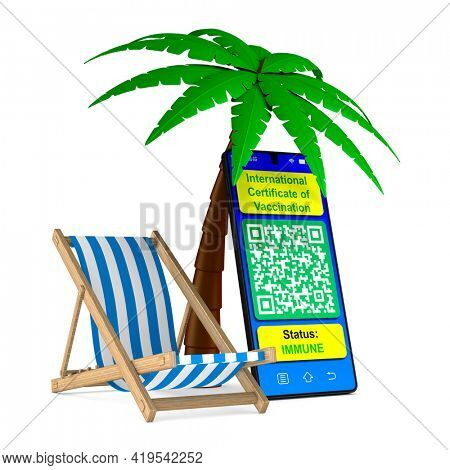 chaise lounge and palm tree on white background. Isolated 3D illustration