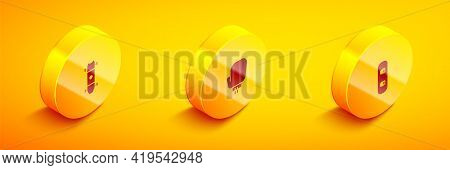 Set Isometric Longboard Or Skateboard, Boxing Glove And Snowboard Icon. Vector