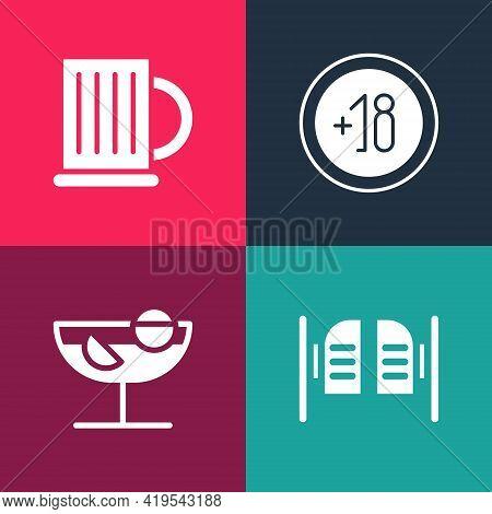 Set Pop Art Saloon Door, Cocktail, Alcohol 18 Plus And Wooden Beer Mug Icon. Vector