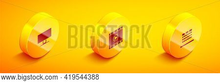 Set Isometric Smart Tv, Play Video And Cinema Auditorium With Seats Icon. Vector