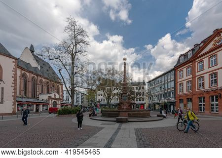 Liebfrauenberg Square In The Historic Old Town Of Frankfurt Am Main, Germany