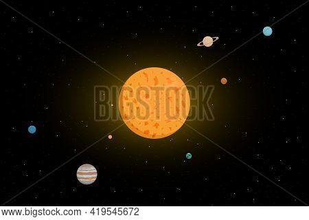 Planetary System Of Sun. Cartoon Style. Vector Illustration.