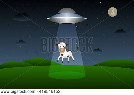 Flying Saucer Abducts Cow At Night. Vector Illustration.