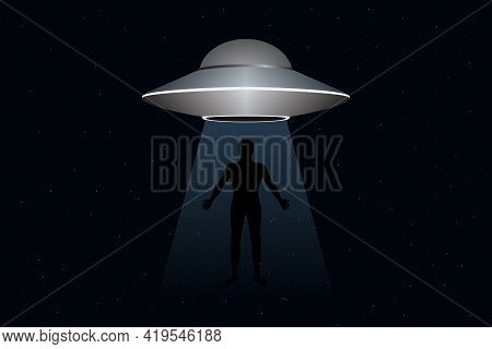 Alien Abduction. Flying Saucer Abducts Human. Vector Illustration.