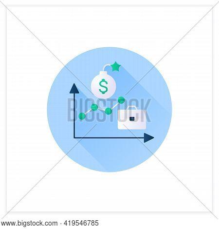 Economic Boom Flat Icon. Upswing, Upturn, And Growth Period. Profitable Economy Period.business Conc