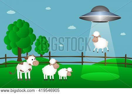 Ufo Abducts Sheep From Corral. Vector Illustration.