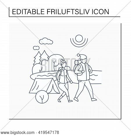 Friluftsliv Line Icon. Family Hiking. Man And Woman Walking Near River. Camping. Nice Weather. Natur