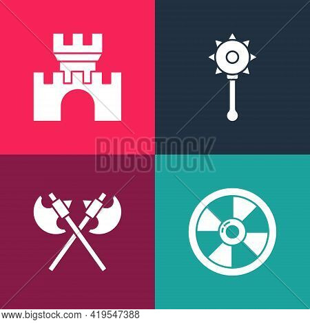 Set Pop Art Round Wooden Shield, Crossed Medieval Axes, Medieval Chained Mace Ball And Castle, Fortr