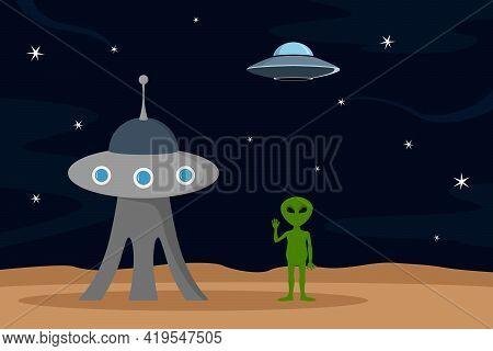 Green Alien And Extraterrestrial Buildings. Vector Illustration.