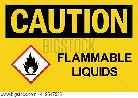 Flammable Liquids Caution Sign. Black On Yellow Background. Flammable Safety Signs And Symbols.