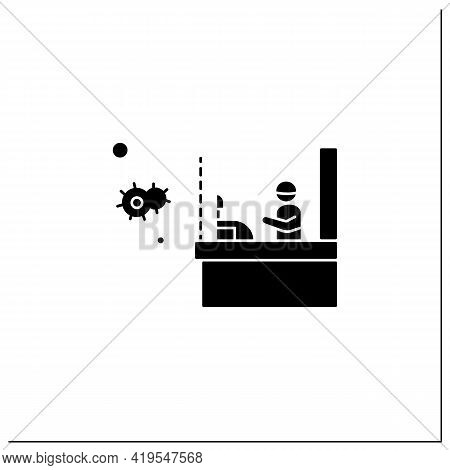 Shopping Safety Glyph Icon.shop Cashier Desk With Covid19 Prevention Glass, Plastic Barrier.concept