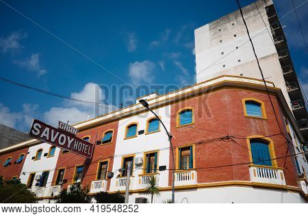 Cordoba, Argentina - January, 2020: Building Of The Gran Savoy Hotel In Retro Style. Beautiful Old F