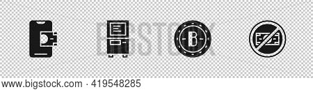 Set Mobile Banking, Atm, Bitcoin And No Money Icon. Vector