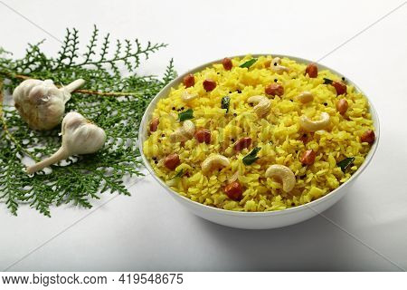 Homemade Delicious Poha, Spicy Dish With Flattened Rice, Indian Vegan Diet Foods,