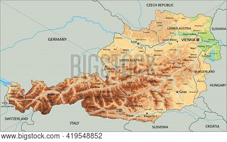 High Detailed Austria Physical Map With Labeling.