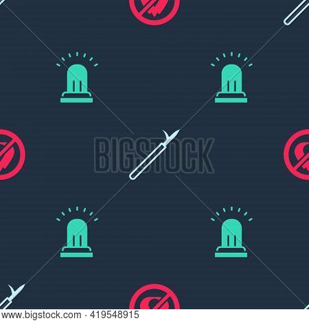 Set No Fire, Metal Pike Pole And Ringing Alarm Bell On Seamless Pattern. Vector